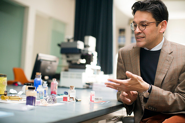 The Hues of Human History: Narayan Khandekar on art, conservation, and the Forbes Pigment Collection   Narayan Khandekar, director of the Straus Center for Conservation and Technical Studies, shares a selection of intense colors with curious backstories. Photos by Stephanie Mitchell/Harvard Staff Photographer © President and Fellows of Harvard College.