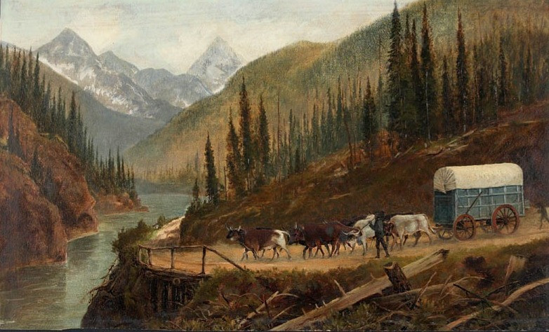 "Circle the Wagons! How covered wagons opened the West and changed history | ""A Prairie Schooner on the Cariboo Road or in the vicinity of Rogers Pass, Selkirk Mountains"" (1887) by Edward Roper (1833 — 1909)."