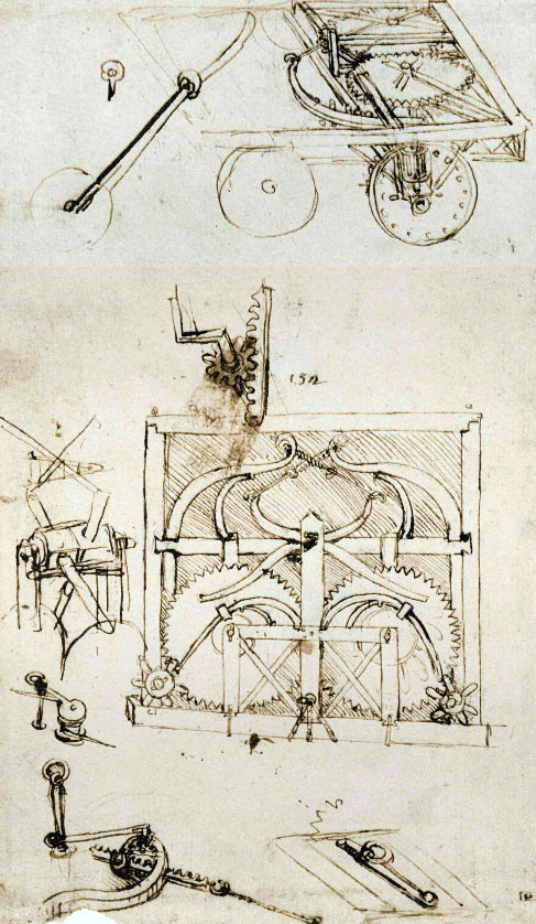 The original design of the self-propelled cart (Codex Atlanticus, f.812 r) | Public Domain