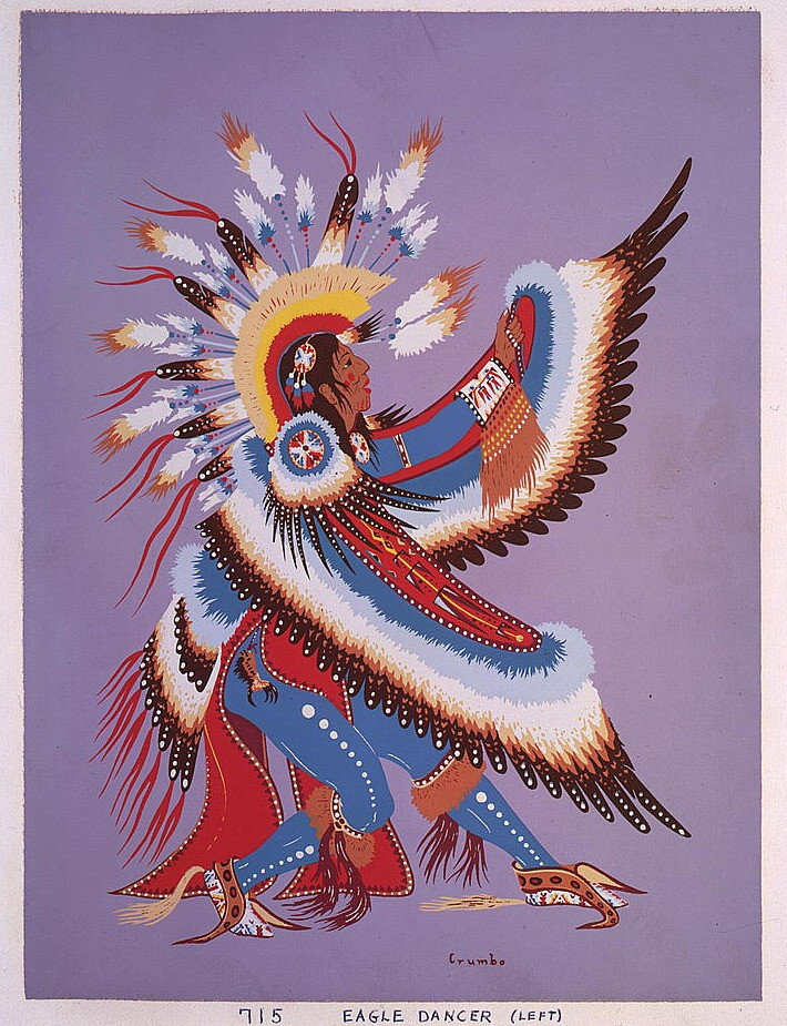 """Eagle Dancer"" (1952) by Woody Crumbo (1912 — 1989)"