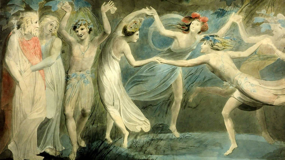 """Oberon, Titania and Puck with Fairies Dancing"" (1786) by William Blake (1757 — 1827)"