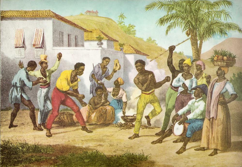 """Jogar Capoëra - Danse de la guerre"" (1835) by Johann Moritz Rugendas (1802 — 1858)"