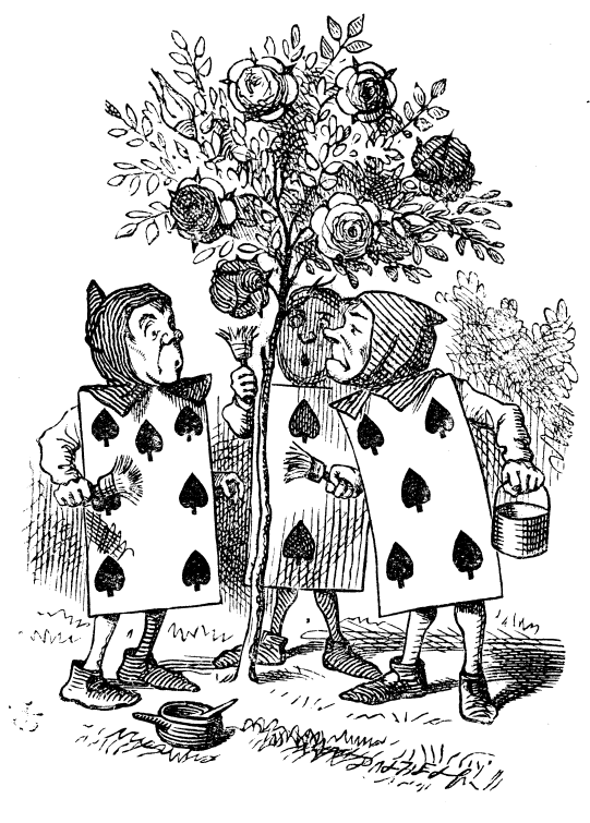 Three cards painting the white rose tree red to cover it up from the Queen of Hearts. |  Illustrated by John Tenniel  (1820–1914)