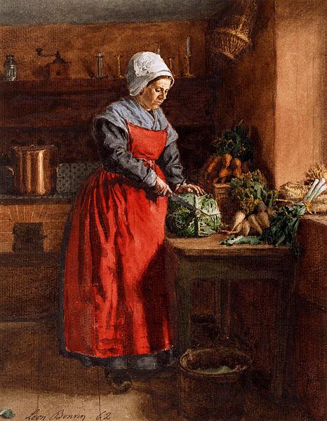 """Cook with Red Apron"" (1862) by Léon Bonvin (1834— 1866) | Woman wears a vermilion apron"