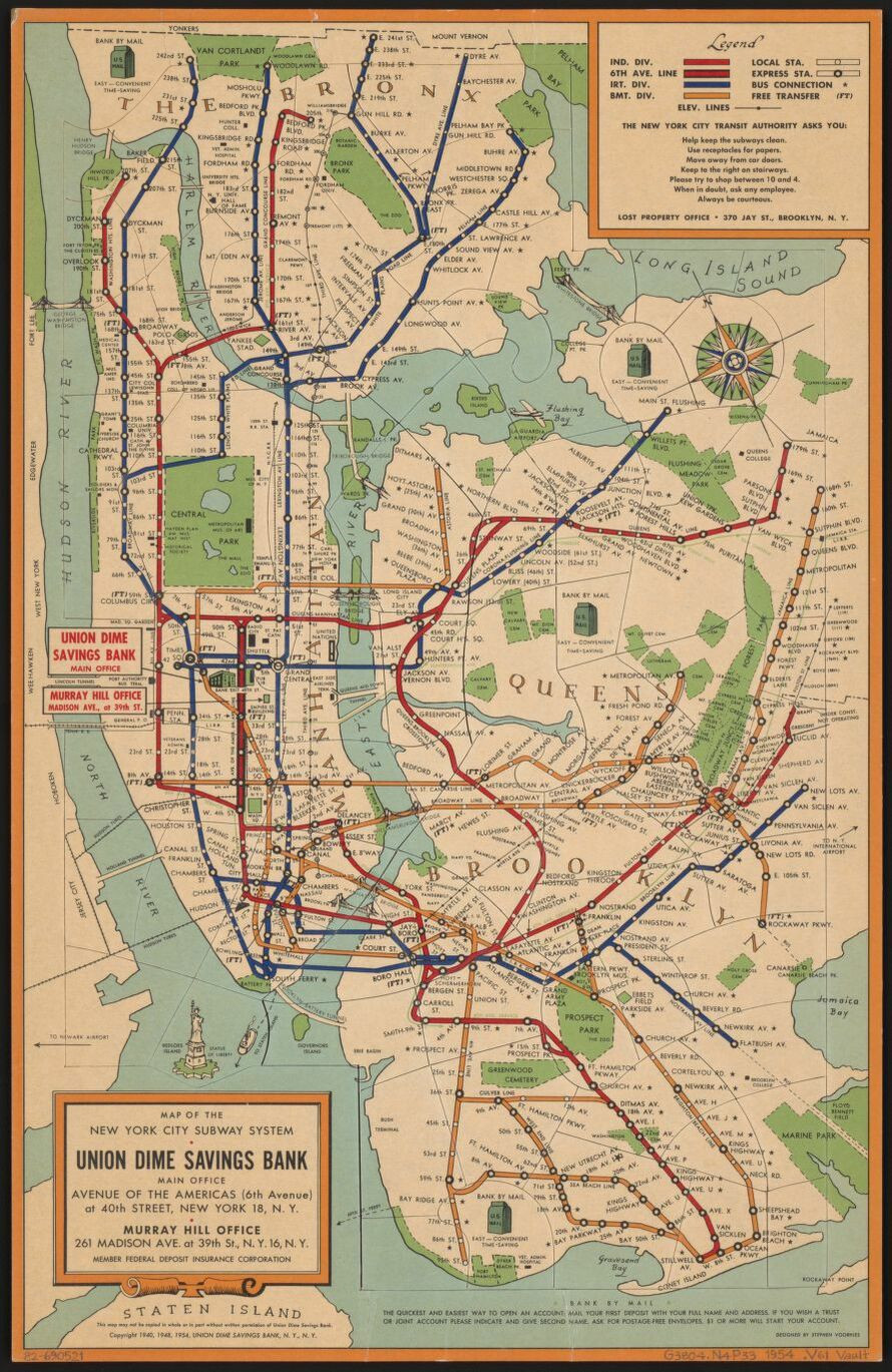 The New York City Subway: A ludicrous concoction of clashes | NYC metro map 1954