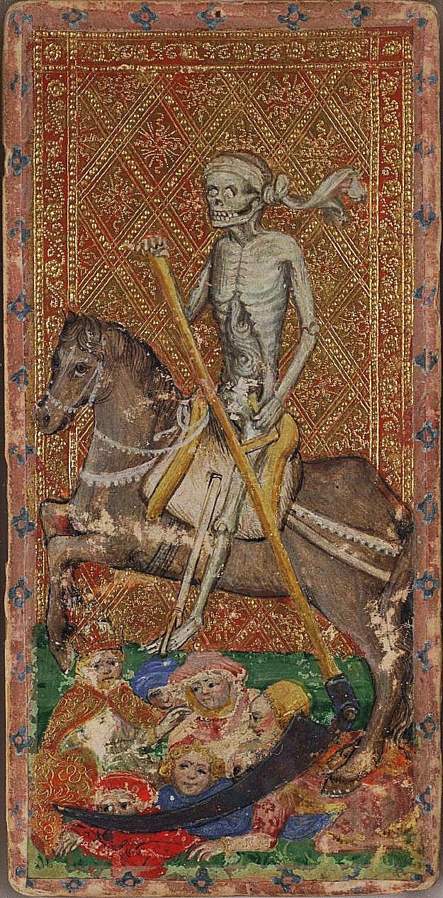Death and Judgement in 15th Century Tarot Cards: A photo essay | Death from the Visconti tarot deck