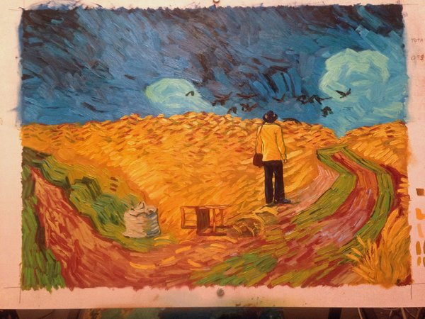 """Frame from """"Wheatfield with Crows"""" (2017) by Dena Kirk 