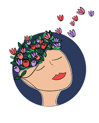 A woman with flowers and leaves flying up and out of her head.
