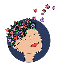 A woman with flowers and leaves floating out of the open top of her head