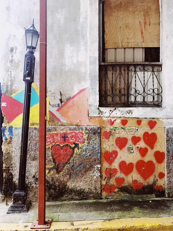 A wall painted with bright hearts in the Casco Viejo neighborhood of Panama City, Panama