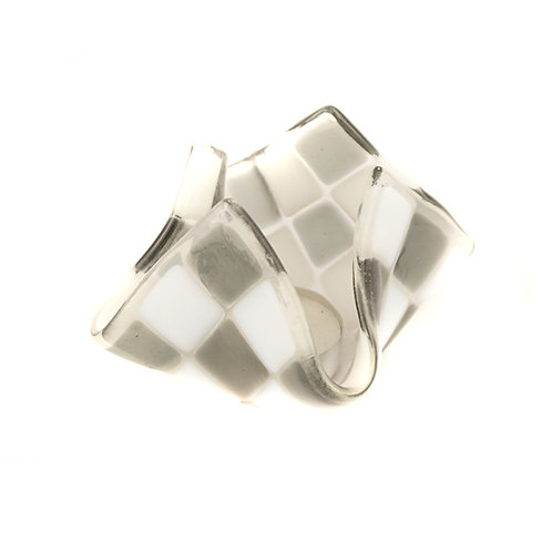 Teelicht klein | Silbergrau / Weiß opalin
