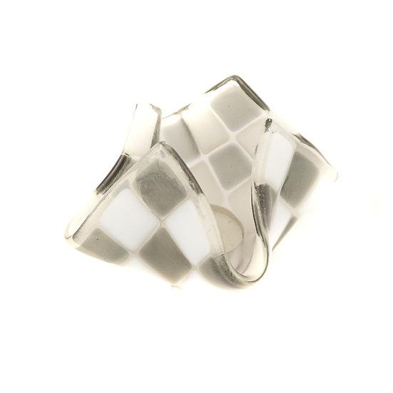 Tealight small | Silvergrey / White opalin