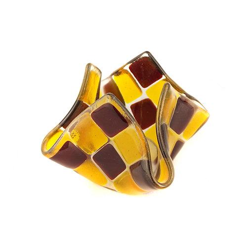 Teelicht klein   Granatrot / Goldgelb