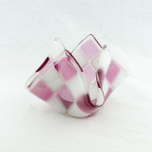 Teelicht groß | Helles Pink / Weiß opalin