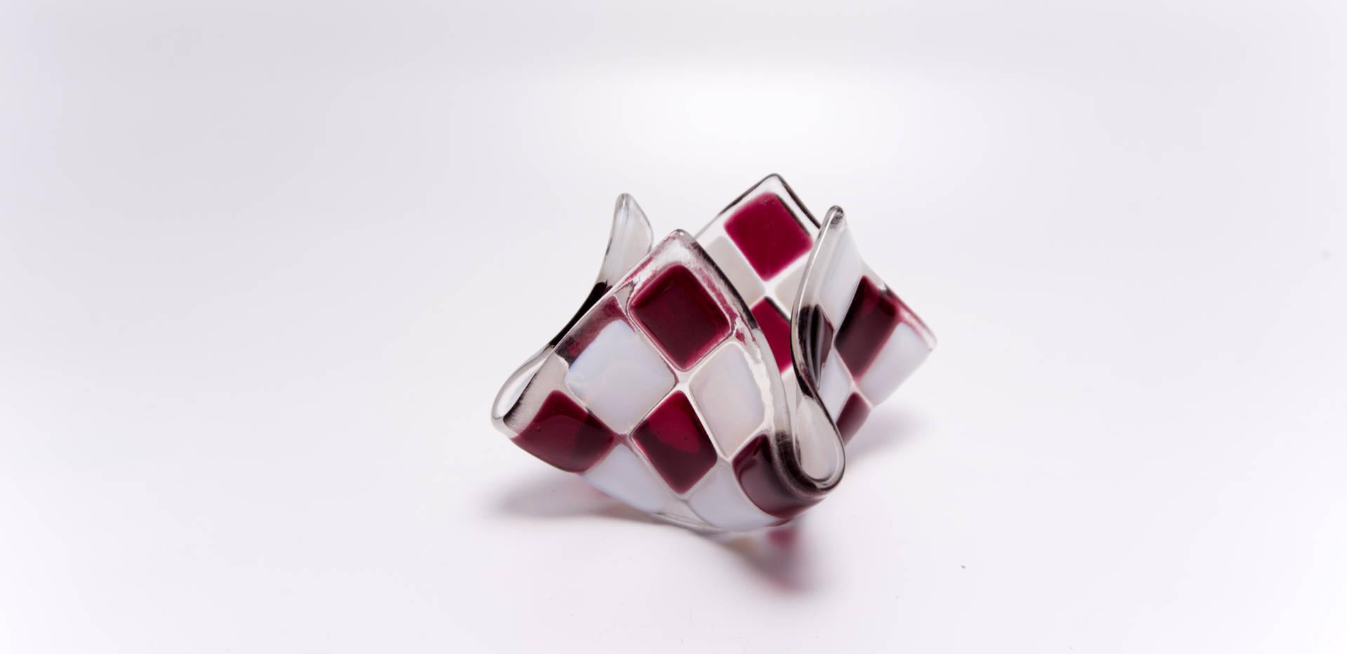 Teelicht klein Cranberry / Weiß opal