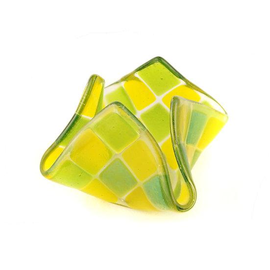Teelicht klein | Goldgelb / Grün irisierend