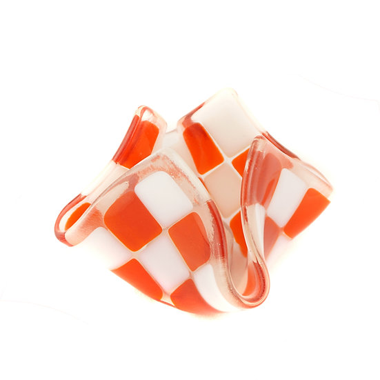 Teelicht klein | Orange / Weiß opalin