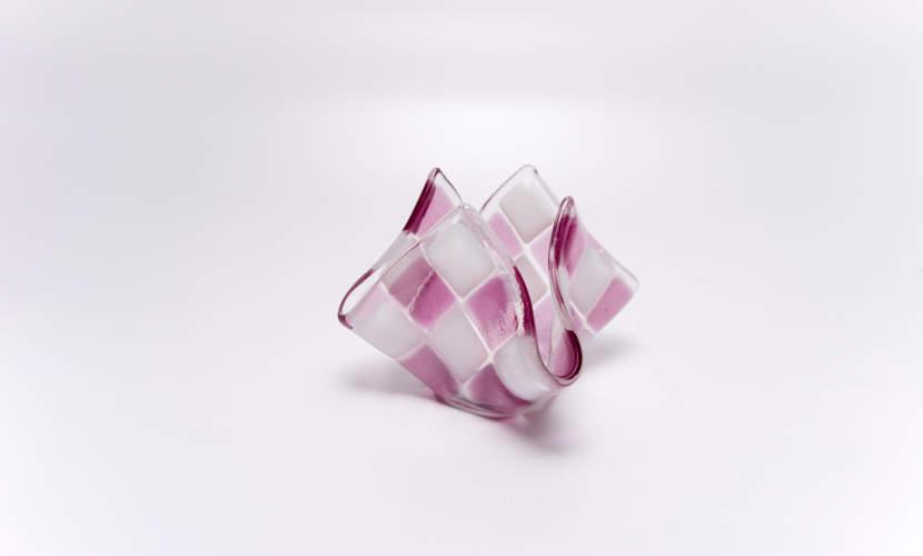 Teelicht klein Pink / Weiß opal