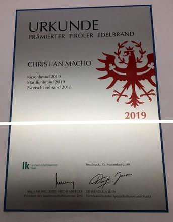 Urkunde Prämierter Tiroler Edelbrand 2019