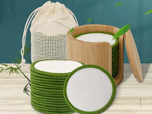 Bamboe Katoenen Makeup Remover pads 16st. + Houder + Waszakje