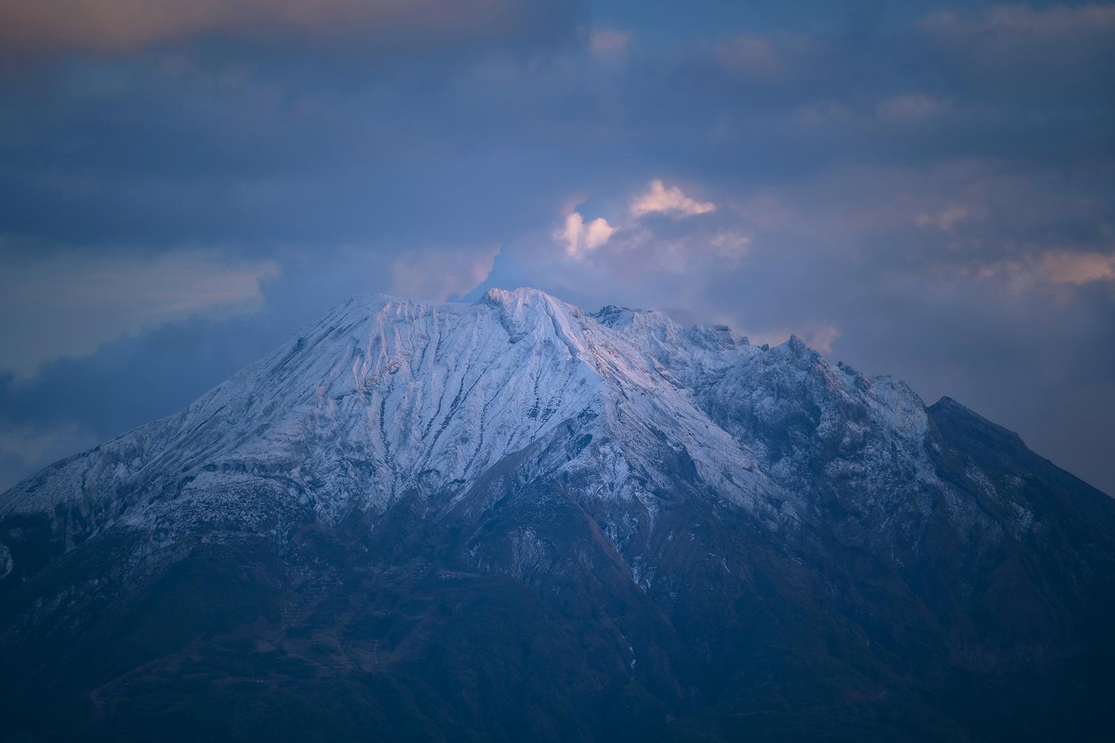 桜島 冠雪