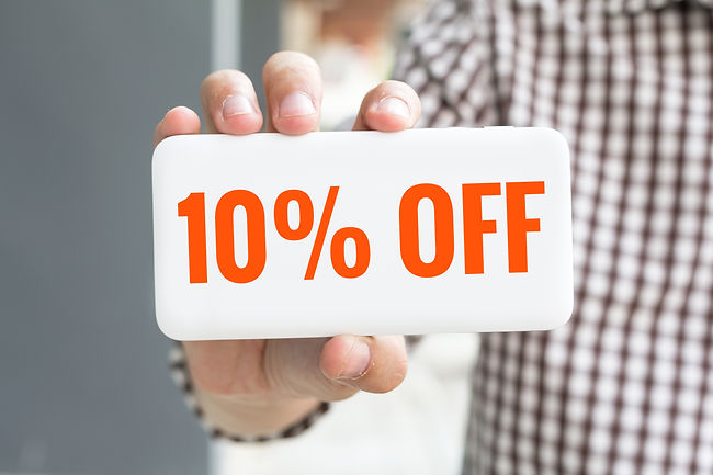 Man hand showing 10% OFF word phone with