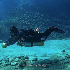 Technical Sidemount Diver in trim