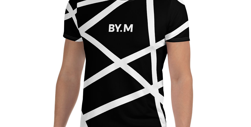 Black Athletic T-shirt Stripe white