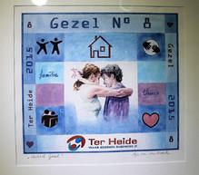 Het Gezel is een kunstwerk waarin de warme zorg in Ter Heide wordt uitgebeeld