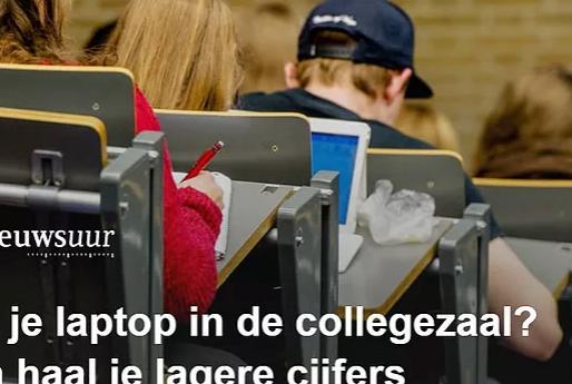 Met je laptop in de collegezaal? Dan haal je lagere cijfers!