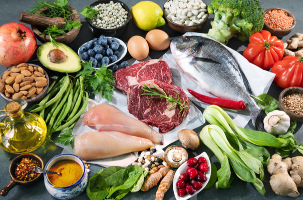 Balanced diet food background. Selection