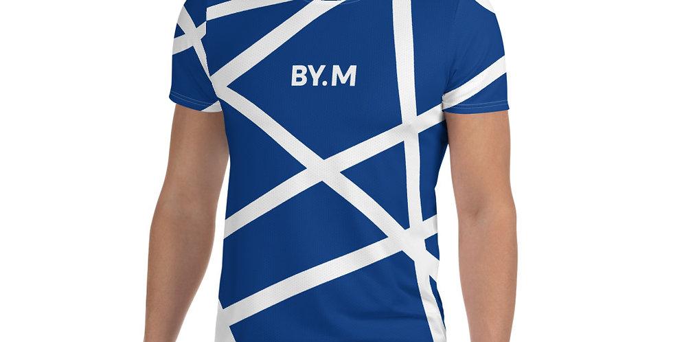 Blue Athletic T-shirt Stripe white