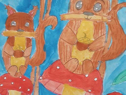 Grade 3 & 4s produce squirrel artworks
