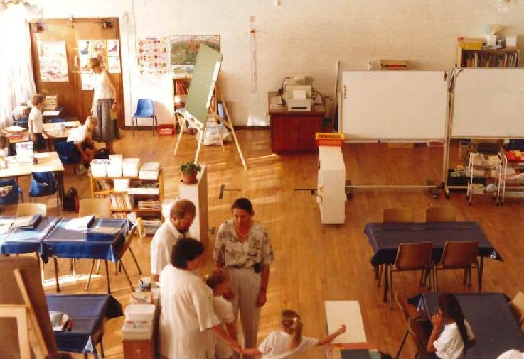 Classrooms before the 'walls' arrived.