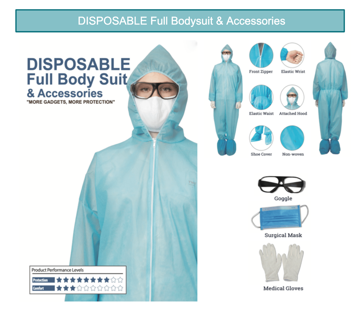 Disposable Full Body Suit + Accesories