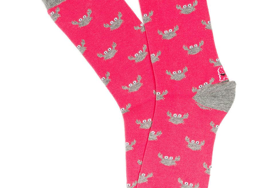 Calcetín media caña de mujer Kiff Kiff con cangrejos rojo