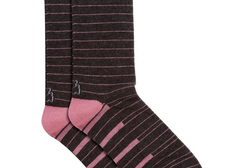 Calcetín media caña de algodón rayas gris marengo