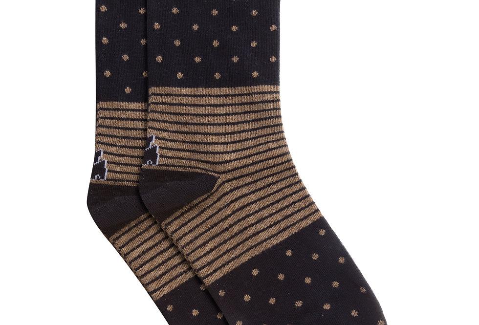 Calcetín media caña de algodón topos/rayas marino