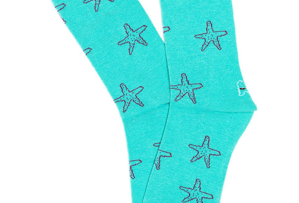 Calcetín media caña de mujer Kiff Kiff con estrellas de mar turquesa