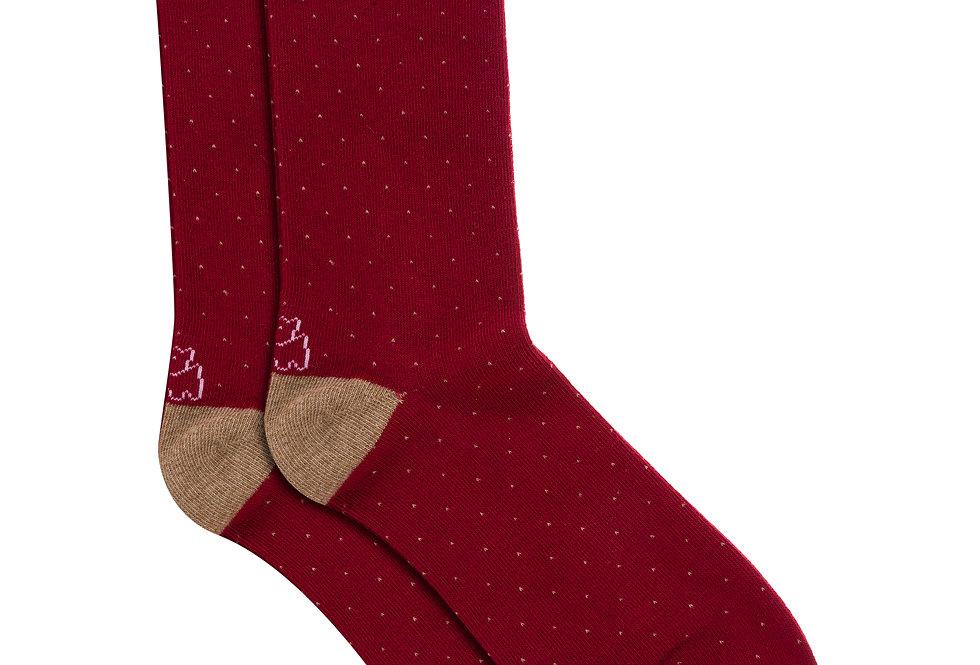 Calcetín media caña de algodón puntos rojo