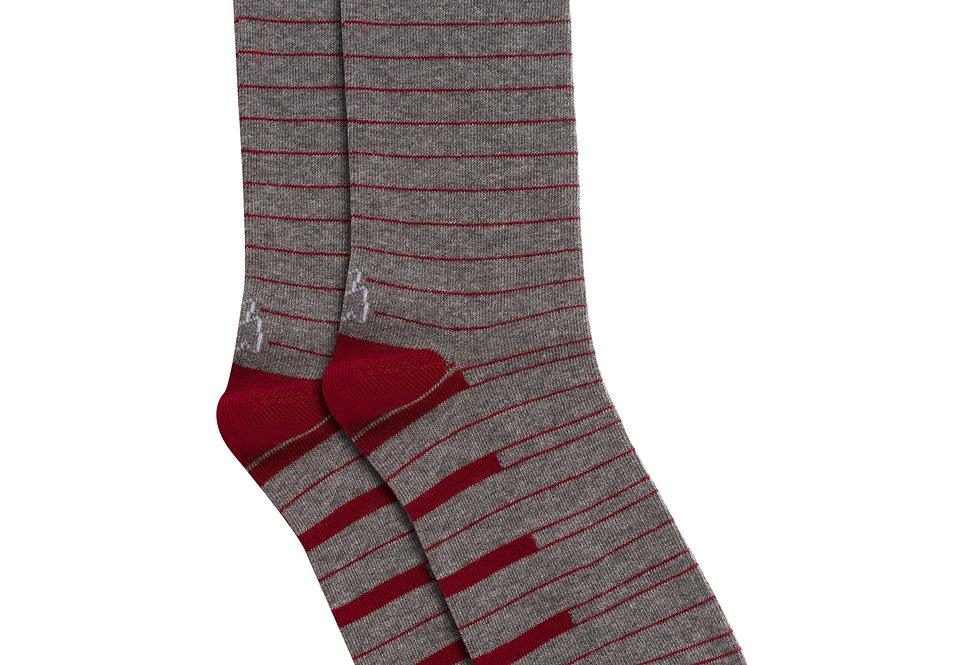 Calcetín media caña de algodón rayas gris