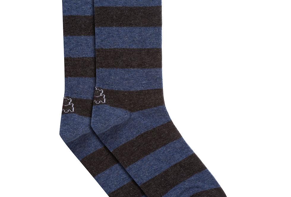 Calcetín media caña de algodón rayas azul