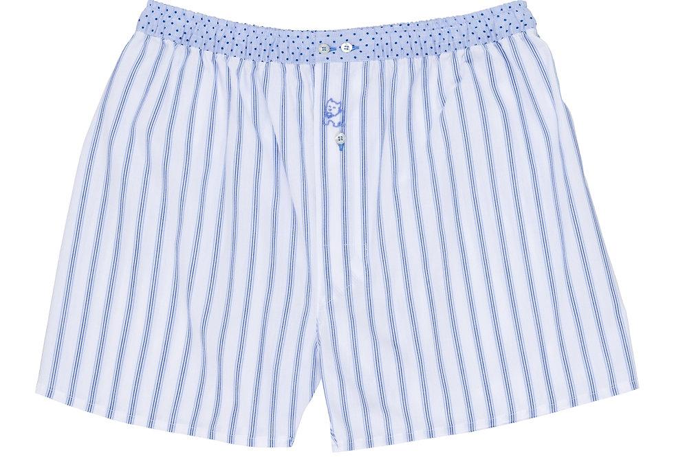 Bóxer de tela de hombre Kiff Kiff rayas azules y cintura topos