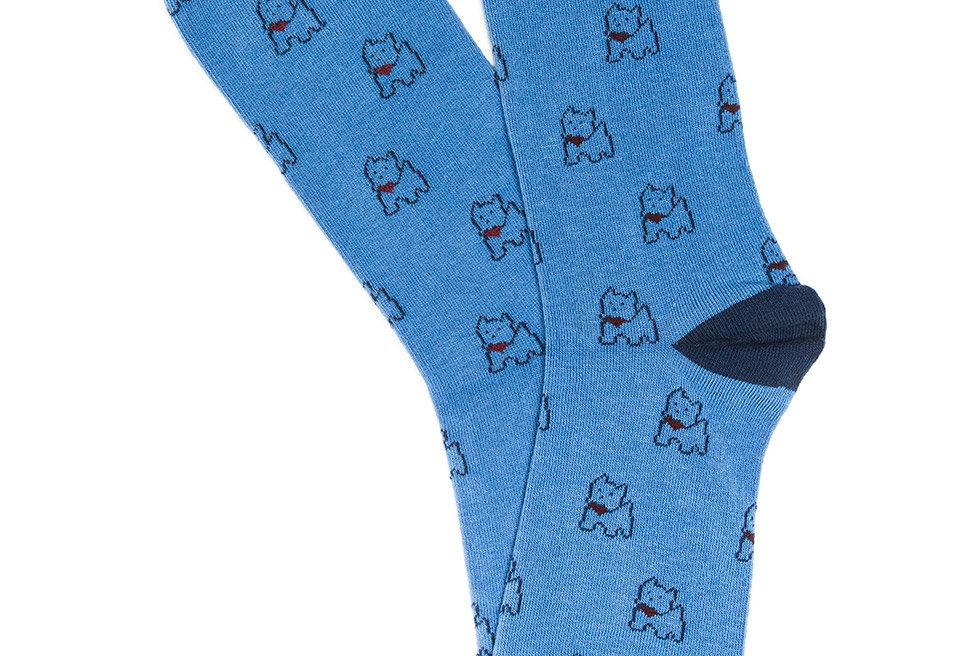 Calcetín media caña de mujer Kiff Kiff con perros azul
