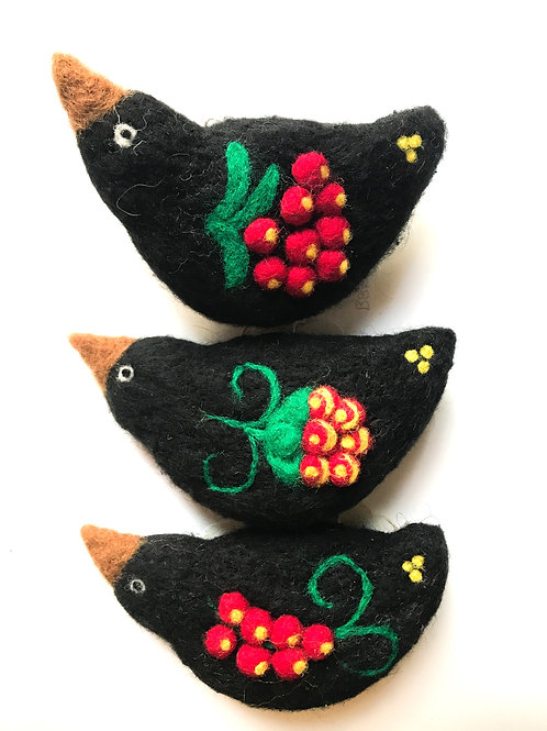 Russian Kholoma Bird Ornament - Black with Berries