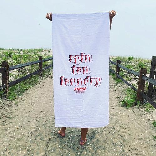 """SPIN, TAN, LAUNDRY"" Beach Towel"