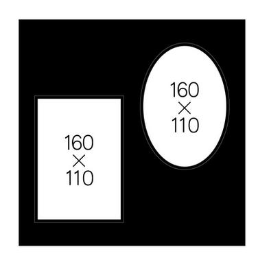 キャビネ楕円(黒)