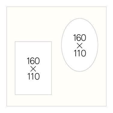 キャビネ楕円(白、黒)