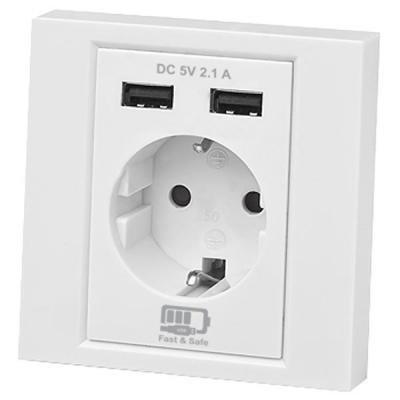 Розетка бытовая REAL-EL Розетка с 2*USB 10.5W (CSW-220)
