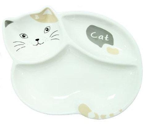 Тарелка порционная Котик (бело-бежевый )